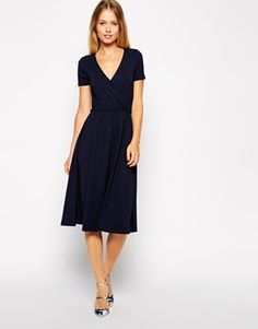 ASOS+Midi+Skater+Dress+with+Wrap+Front+and+Short+Sleeves