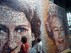 Photomontage portrait of the Queen, made from family pictures collected by the artist, Helen Marshall 'The People's Monarch'