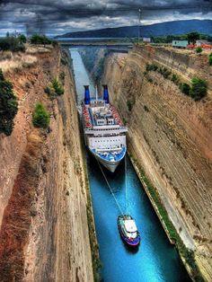 Amazing Corinthos Canal in Greece - via +Wonderful World