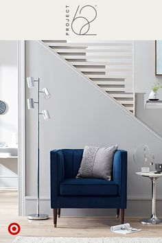Adding few smart and simple pieces to an unused or underutilized hallway, entryway, or corner can give a room fresh style and functionality. A comfy cobalt chair, sleek lighting and modern accents—done! Meet your new favorite reading retreat. Project 62, only at Target.