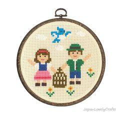 Japanese Cross Stitch Kit Tutorial, Fairy Tale, The Blue Bird, Beginner & Intermediates, Hand Embroidery Kit, Embroidery Wall Art, EK023