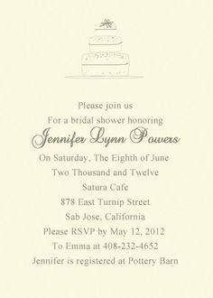 Simple Cake Bridal Shower Invitation [BSMF005] [BSMF005] - $0.00 : Invitation Store, Invitationstyles.com