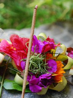 Canang Sari-Offering to the gods.  Arrangements like these were EVERYWHERE--so beautiful!