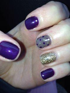 purple gray gold nails