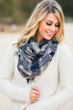 This chic Morning Lavender plaid scarf completes any holiday outfit