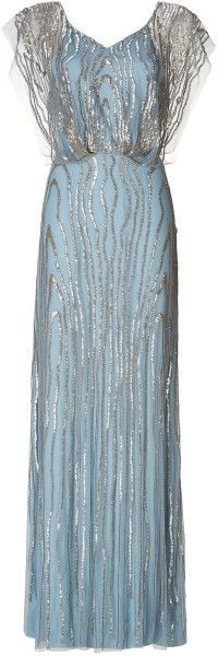 cv/ Jenny Packham Beaded Gown in Blue (white) - Lyst    jaglady