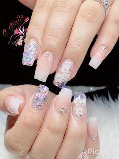 Acrylic Nail Designs Classy, Nail Polish Designs, Cute Acrylic Nails, Nail Art Designs, Gold Glitter Nails, Rhinestone Nails, Nude Nails, My Nails, Hair And Nails