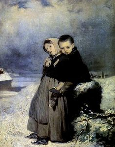 Orphans in the cemetery  - Vasily Perov