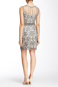 Lace Yoke Overlay & Mesh Cocktail Dress by Soieblu on @nordstrom_rack