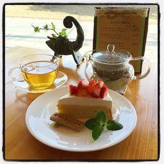 苺のカスタードケーキ  #cafe #cake #heabtea #tea