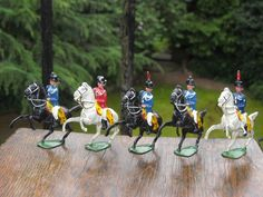 Vintage 5 Lead Mounted Officers Prancing Horses Benbros jointed horn Britains | eBay