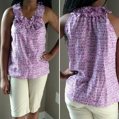 """J.Crew Silk Top Purple and white 100% silk button down. Shirt has hidden buttons from neck line to hem and measures about 24 1/2"""" from neck to hem. The last picture is just to show fit. A totally cute option for summer! J. Crew Tops"""