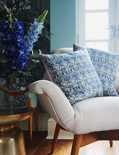 liberty print cushions in blue and blush pink made by Poppy & Honesty. Delphiniums and lupin faux flowers. Pink Paint Colors, Rest Up, Gray Interior, Interior Design, Quirky Home Decor, Blue Rooms, Printed Cushions, Real Estate Houses, Elle Decor