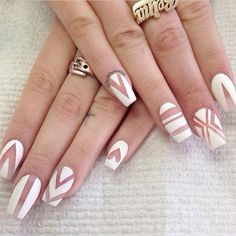 Cute white nail design with coffin shape! Acrylic nails.