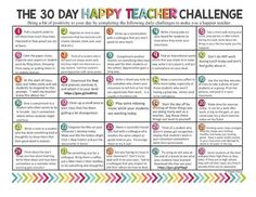 30 day Happy Teacher challenge New Teachers, Happy Teachers Day, English Teachers, Professor, Teaching Tips, Teaching Quotes, Teaching Strategies, Teaching Music, Teacher Resources