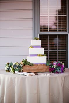 Succulents! An Intimate Purple Vineyard Wedding