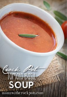 See how easy it is to make this homemade crockpot tomato basil soup and you'll never eat canned again!