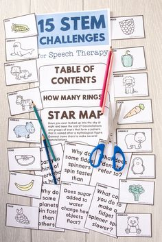 15 STEM Challenges in Speech Therapy is perfect for speech-language pathologists, and special education teachers too, to have kids tackle goals like: 1) Sequencing events 2) Answering WH questions 3) Increasing Science & Math Vocabulary 4) Defining functional vocabulary words 5) Describing events both orally and in writing PRODUCT CONTENTS include : – GRAVITY – DISPLACEMENT – ECLIPSE – MAKE A GALAXY – CREATE EARTH'S ATMOSPHERE – SPACE JOBS – SPINNING TIME and more!