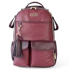 Large Internal Storage 10 Pockets Water-Resistant Nylon Fabric Freshly Picked City Pack Diaper Bag Backpack Berry Pink