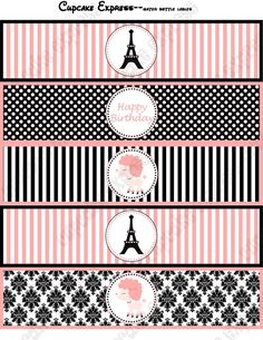 INSTANT DOWNLOAD diy Paris Printable Birthday por CupcakeExpress