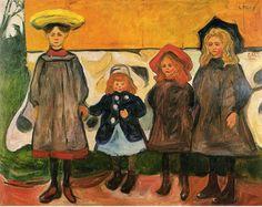 Four girls in Arsgardstrand by Edvard Munch Size: 87x111 cm Medium: oil on canvas