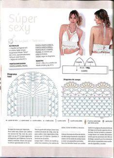 New knitting summer tops dress tutorials ideas Beach Crochet, Crochet Bra, Crochet Bikini Pattern, Crochet Bikini Top, Crochet Lace Dress, Crochet Woman, Crochet Clothes, Crochet Summer, Lace Dress Pattern