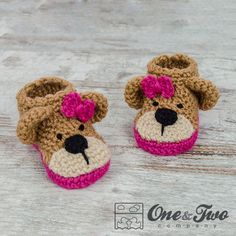 Teddy Bear Booties  PDF Crochet Pattern  2 versions  Baby