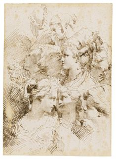 Gaetano Gandolfi - A Sheet Of Studies Of Heads Of Women With Elaborate Hair Styles - Between 1734 - 1802 Realistic Drawings, Cute Drawings, Drawing Sketches, Figure Drawing, Painting & Drawing, Drawing Studies, Classical Art, Ancient Art, Figurative Art