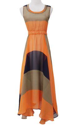 Orange Sleeveless Bandeau Full-Length Dress - Sheinside.com