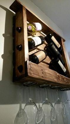 Wine racks from wooden wall shelf wine bottles