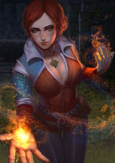 """Triss Merigold from """"The Witcher"""" World Of Warcraft Characters, Dnd Characters, Fantasy Characters, Female Characters, The Witcher Game, Witcher Art, Pirate Art, Pirate Woman, Medieval Books"""