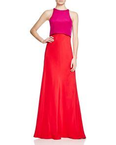 Jill Jill Stuart High Neck Color Block Popover Gown