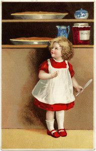 Vintage Clapsaddle Girl in Red Dress Thanksgiving Postcard ~ Free Graphic (without the writing)