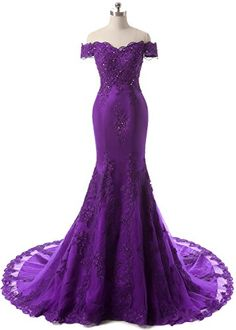 Beautiful HEIMO Women's Mermaid Lace Beaded Evening Party Gowns Sequined Appliques Formal Prom D Purple Outfits, Purple Dress, Purple Prom Dresses, Turquoise Dress, Purple Lace, Lace Dresses, Red Purple, Dress Black, Evening Party Gowns