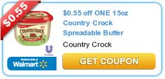 $0.55 off ONE 15oz Country Crock Spreadable Butter