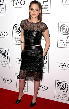 Kristen Stewart in a leather-and-lace Chanel crop top and pencil skirt
