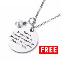FREE Motivational Necklace which allow you to engrave your name! Check out now! #personalizedgift #necklace #free #freeitem