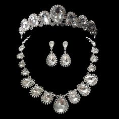 Wholesale One Strand Butterfly Pendant Necklace Princess Crystal Tiara Earring Sets For Wedding