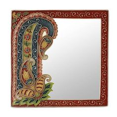 Blossoming Reflections Handcrafted Marble Dust Art on Wall Mirror