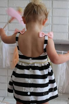 The Audrey Dress - FREE SHIPPING - Black and white Stripe dress - bow back - low back dress - toddler dress - clothing by Lottie Clothing
