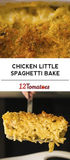 Chicken Little Spaghetti Bake.maybe use rotisserie chicken and add some sour cream or a can of rotel tomatoes. Best Chicken Dishes, Easy Chicken Recipes, Meat Recipes, Slow Cooker Recipes, Pasta Recipes, Crockpot Recipes, Cooking Recipes, Yummy Recipes, Yummy Food