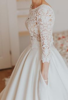 Dresses - Wedding dress, lace, - PLN - Dresses – Wedding dress, lace, – PLN Source by arcticnymphs - Western Wedding Dresses, Dream Wedding Dresses, Bridal Dresses, Bridesmaid Dresses, Wedding Dress With Pockets, Modest Wedding Dresses With Sleeves, Designer Wedding Gowns, The Dress, Dress Lace