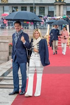 Crown Prince Pavlos of Greece and Crown Princess Marie-Chantal of Greece attend a lunch on the Norwegian Royal yatch 'Norge'to celebrate the 80th birthdays of King Harald of Norway and Queen Sonja of Norway on May 10, 2017 in Oslo, Norway. (Photo by Patrick van Katwijk/Getty Images)