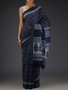 Indigo-Ecru Silk Cotton Chanderi Bagru Printed with Ghicha Border Saree