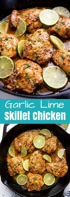 This Garlic Lime Skillet Chicken is a simple, easy dinner idea that will get a tasty dinner on the table fast.