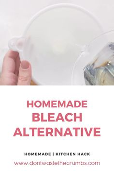 Learn how to make a bleach alternative when you run out or don't want to use the toxic kind. This homemade bleach recipe is easy to make using just a few ingredients. Make a homemade bleach alternative using common household ingredients such as hydrogen peroxide and lemon essential oil Save money on cleaning supplies today! #naturallivinghome #diycleaningproducts #diycleaningproductsnatural