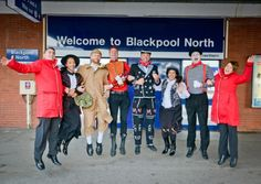 London bound: A colourful  collection of London characters were there to help launch the new capital service at Blackpool North