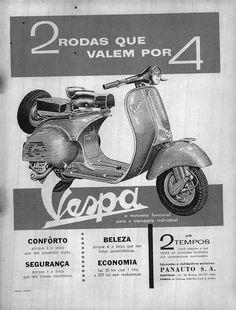 Propaganda da motocicleta Vespa veiculada no Brasil em 1960 na Revista O Cruzeiro.