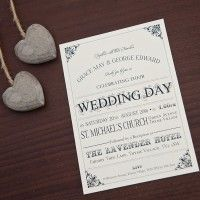 Sarah Alexis Stationery: Vintage Script Wedding Invitation in Black and Cream