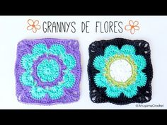 granny squares with crochet flower in the center Granny Square Häkelanleitung, Granny Square Tutorial, Granny Square Crochet Pattern, Crochet Squares, Crochet Granny, Easy Crochet, Free Crochet, Knit Crochet, Crochet Patterns